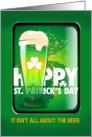 Happy St. Patrick's Day Beer Mug and Shamrocks card