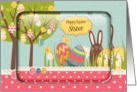 Happy Easter Sister Egg Tree, Bunny and Polka Dots card