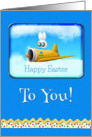 Happy Easter To You Bunny Flying Plane card