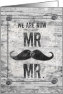 Gay Wedding Announcement Rustic Grunge Mustache card