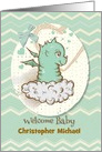 Welcome Baby Congratulations Custom Name Adorable Green Baby Dragon card