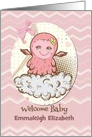 Welcome Baby Congratulations Custom Name Cute Pink Baby Monster card