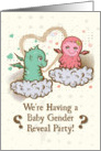 Baby Gender Reveal Party Invitation Cute Little Baby Monsters card