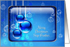 Merry Christmas Step Brother Sparkling Blue Ornaments card