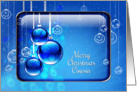 Merry Christmas Cousin Sparkling Blue Ornaments card
