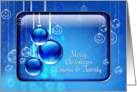 Merry Christmas Cousin and Family Sparkling Blue Ornaments card