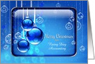 Merry Christmas Business Custom Name Sparkling Blue Ornaments card