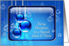 Merry Christmas Aunt and Uncle Sparkling Blue Ornaments card
