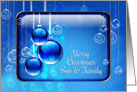 Merry Christmas Son and Family Sparkling Blue Ornaments card