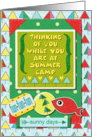 Thinking of You at Summer Camp Fish and Stylized Trees card