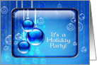 Holiday Party Invitation Sparkling Blue Christmas Ornaments card