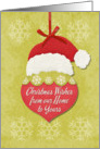 Christmas Wishes From Our Home to Yours Santa Hat Ornament card