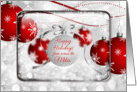Happy Holidays from across the Miles Sparkling Red Ornaments card