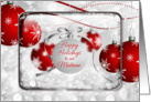 Happy Holidays to our Mailman Sparkling Red Ornaments card