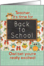 Teacher Back to School Colorful Owls and Chalkboard card