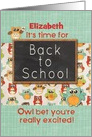 Student Custom Name Back to School Colorful Owls and Chalkboard card