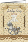 Baby Boy Year of the Horse Welcome New Baby Scrapbook Style card