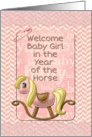 Baby Girl Year of the Horse Welcome New Baby Scrapbook Style card