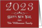 Happy New Year 2015 Custom Name Sparkling Burgundy card