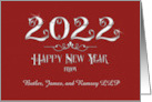Happy New Year 2015 Business Custom Name Modern Sparkling Burgundy card