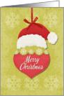 Merry Christmas Santa Hat and Ornament Holiday Greetings card