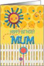 Happy Birthday Mum Sunshine and Flowers Scrapbook Style card