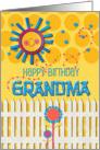 Happy Birthday Grandma Sunshine and Flowers Scrapbook Style card