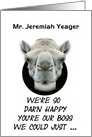 Boss's Day Greetings From Group Funny Camel Custom Name card