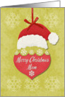 Merry Christmas Mom Santa Hat and Snowflakes Ornament card