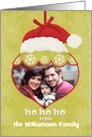 Merry Christmas Custom Photo and Name Santa Hat Ornament card