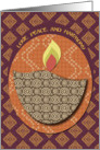 Diwali Festival of Lights Lamp Love, Peace, and Harmony Patterns card