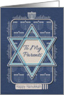 Happy Hanukkah To My Parents Celebrate Star of David and Menorah card