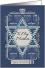 Happy Hanukkah To My Mother Celebrate Star of David and Menorah card