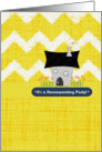 Housewarming Party Invitation Stylized House & Flowers Scrapbook Style card