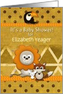 Baby Shower Invitation Custom Name Cute Critters Scrapbook Style card