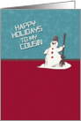 Happy Holidays Cousin Happy Snowman Holiday Greetings card