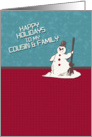 Happy Holidays Cousin & Family Happy Snowman Holiday Greetings card