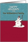 Happy Holidays Custom Name Happy Snowman Holiday Greetings card