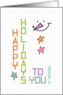 Happy Holidays Snowman Face and Star Buttons Fun Holiday Greetings card