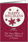 Happy Holidays Business Custom Name Retro Look Snowflakes card