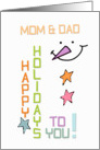 Happy Holidays Mom & Dad Snowman Colorful Christmas card