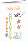 Happy Holidays Sister Snowman Colorful Christmas card