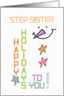 Happy Holidays Step Sister Snowman Colorful Christmas card