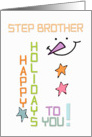 Happy Holidays Step Brother Snowman Colorful Christmas card