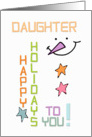 Happy Holidays Daughter Snowman Colorful Christmas card