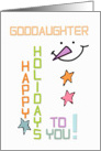 Happy Holidays Goddaughter Snowman Colorful Christmas card