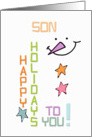 Happy Holidays Son Snowman Colorful Christmas card