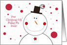 Thank You for the Christmas Gift Happy Smiling Snowman card