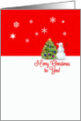 Merry Christmas to You Happy Snowman and Christmas Tree Snowflakes card