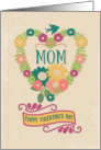 Happy Valentine's Day Mom Flower Heart with Bird and Ribbon card